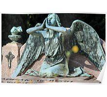 weeping angel at the Monumental Cemetery of Staglieno (Cimitero monumentale di Staglieno), Genoa, Italy Poster