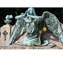weeping angel at the Monumental Cemetery of Staglieno (Cimitero monumentale di Staglieno), Genoa, Italy Photographic Print