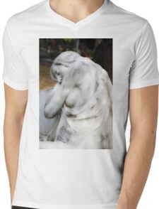 statue of grief and consolation at the Monumental Cemetery of Staglieno  Mens V-Neck T-Shirt