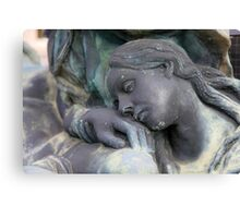 statue of grief and consolation at the Monumental Cemetery of Staglieno  Canvas Print