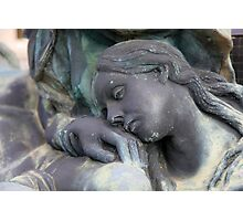 statue of grief and consolation at the Monumental Cemetery of Staglieno  Photographic Print