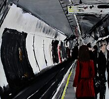 London Underground Urban Cityscape Subway Station Red Coat Woman Contemporary Acrylic Painting by JamesPeart