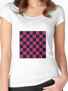 Pink Checkerboard Tote Bag Women's Fitted Scoop T-Shirt