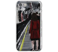 London Underground Urban Cityscape Subway Station Red Coat Woman Contemporary Acrylic Painting iPhone Case/Skin