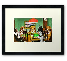 Dogs Playing Poker Cards  Framed Print