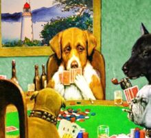 Dogs Playing Poker Cards  Sticker