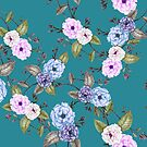 Roses in Lilac on Teal by ThistleandFox