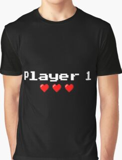 Player 1 couple's logo - Black background Graphic T-Shirt