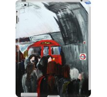 London Underground Urban Cityscape Red Train Subway Station Contemporary Acrylic Painting iPad Case/Skin