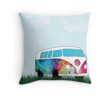 VW Rainbow Hippie Bus! Throw Pillow