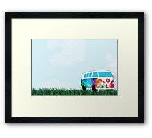VW Rainbow Hippie Bus! Framed Print