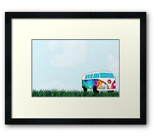 VW Rainbow Hippie Bus! Framed Print