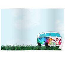 VW Rainbow Hippie Bus! Poster