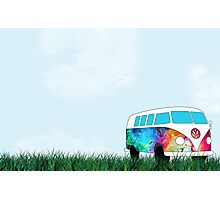 VW Rainbow Hippie Bus! Photographic Print