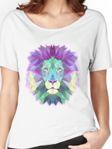 Geometric Pink Pastel Lion Women's Relaxed Fit T-Shirt