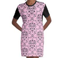 Elegant Black Damask Pattern Girly Pink Feminine Graphic T-Shirt Dress