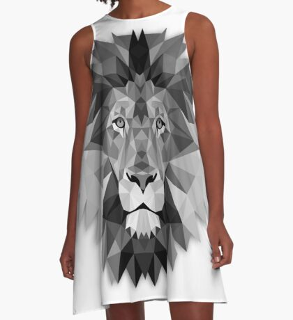 Geometric Monochrome Black and White Lion A-Line Dress