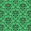 Elegant Black Damask Pattern Emerald Green Feminine by Beverly Claire Kaiya