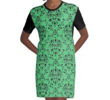 Elegant Black Damask Pattern Emerald Green Feminine Graphic T-Shirt Dress