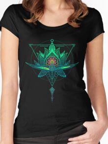 Oriental Geometric Lotus Triangle Women's Fitted Scoop T-Shirt