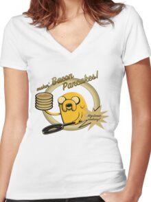 Makin Bacon Pancakes - Adventure Time Jake Women's Fitted V-Neck T-Shirt