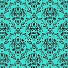 Elegant Black Damask Pattern Turquoise Feminine by Beverly Claire Kaiya