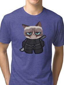 Grumpy Ninja Cat Tri-blend T-Shirt