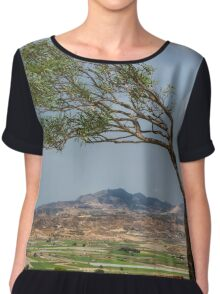 Half a tree and a mountain view Chiffon Top