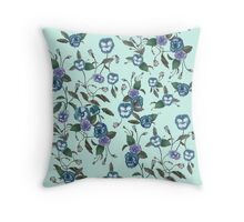 Pansy & Peony in Blue Throw Pillow