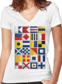 nautical flags Women's Fitted V-Neck T-Shirt