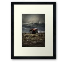Old forgotten shade with red fish net Framed Print