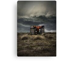 Old forgotten shade with red fish net Canvas Print
