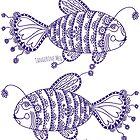 Hello Sweetie Fish (purple print) by TangerineMeg