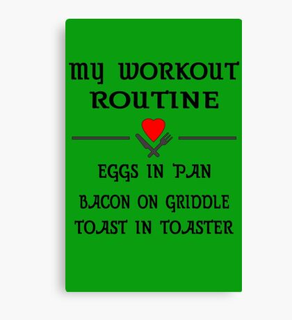 Breakfast Workout Routine Girls Muscle Top Canvas Print