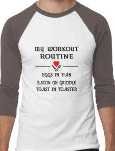 Breakfast Workout Routine Girls Muscle Top Men's Baseball ¾ T-Shirt