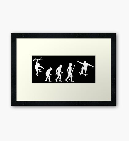Evolution Of Man Skateboarding Framed Print