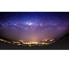 Milky Way above a sleepy New Zealand town Photographic Print