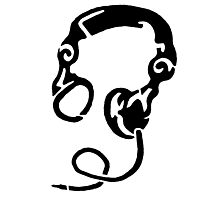 Headphones Stencil Black Photographic Print