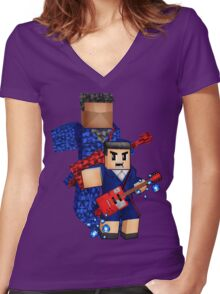 8bit boy with 12th Doctor shadow Women's Fitted V-Neck T-Shirt