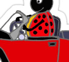 Cool Funny Ladybug Driving Beetle Convertible Sticker