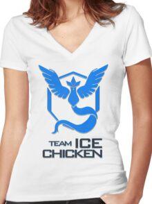 Team Ice Chicken Women's Fitted V-Neck T-Shirt