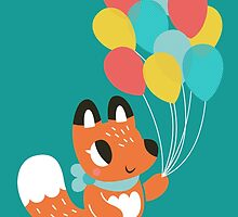 Cute Fox With Balloons by Claire Stamper