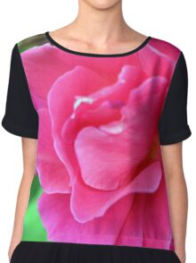 Pink rose on green natural background. Chiffon Top