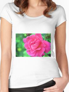Pink rose on green natural background. Women's Fitted Scoop T-Shirt