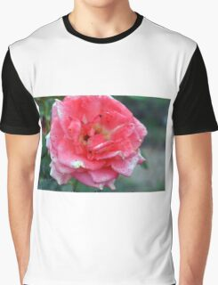 Pink rose on green natural background. Graphic T-Shirt