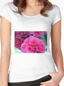 Pink roses, natural composition. Women's Fitted Scoop T-Shirt