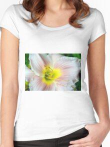Macro on white summer flower. Women's Fitted Scoop T-Shirt