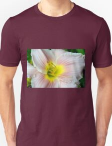 Macro on white summer flower. Unisex T-Shirt