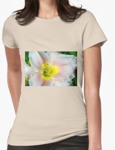 Macro on white summer flower. Womens Fitted T-Shirt