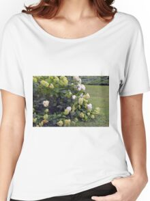 Bush of white flowers in the garden. Women's Relaxed Fit T-Shirt